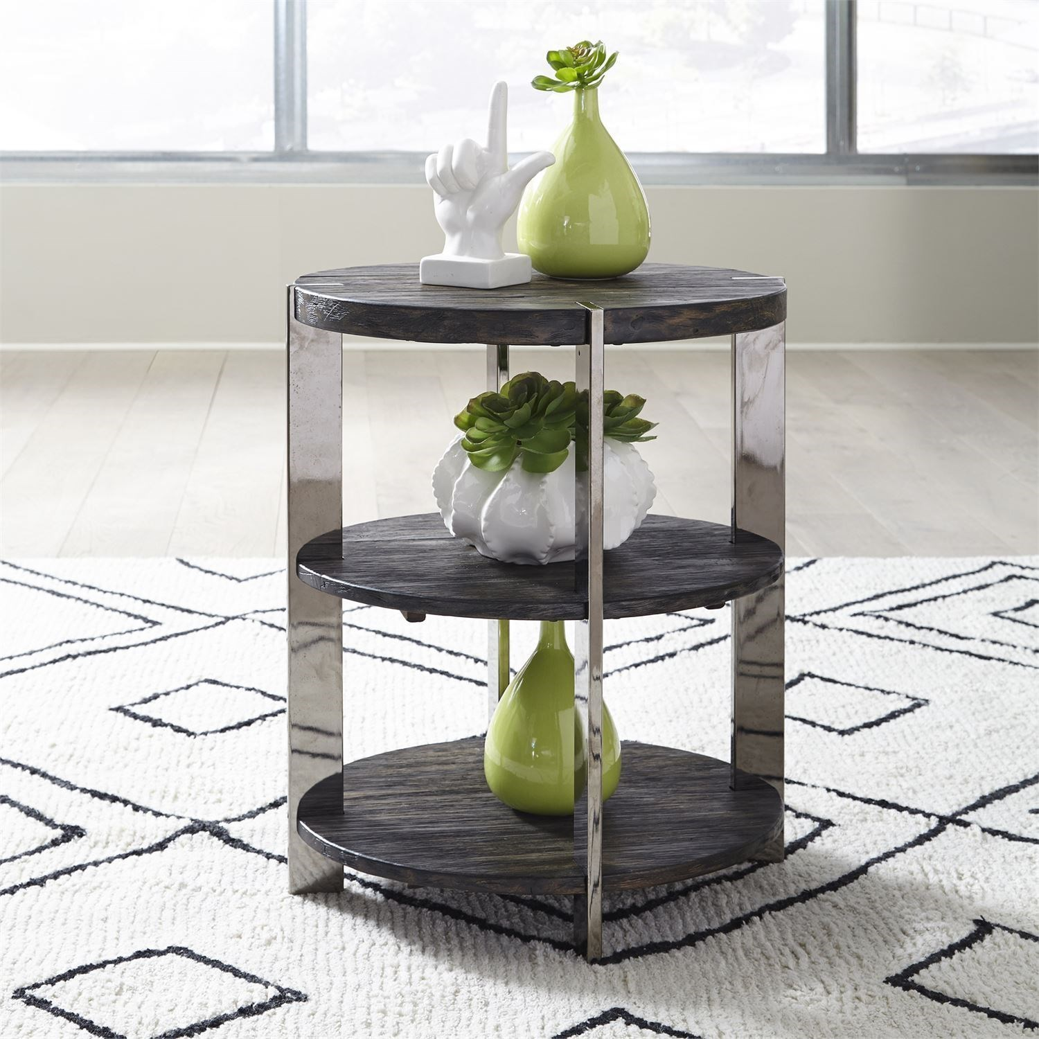 Contemporary Chairside Table with Metal Legs