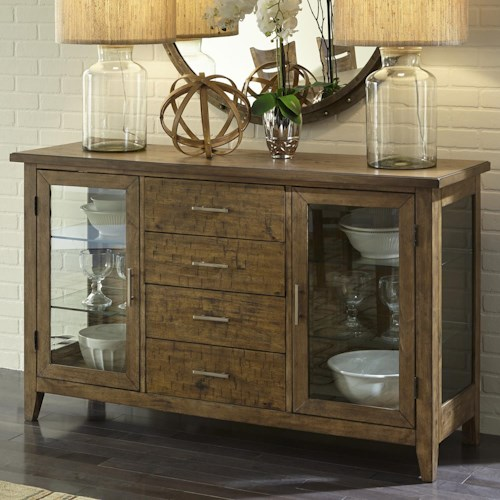 Liberty Furniture Pebble Creek Casual Server with 4 Drawers and LED Touch Lighting