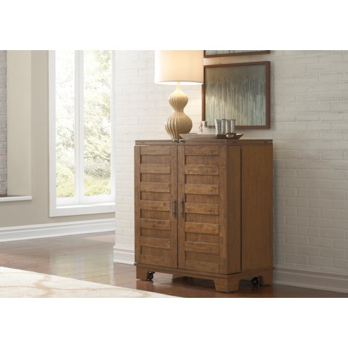 Liberty Furniture Pebble Creek Wine Cabinet with Satin Nickel Bar Pull Hardware