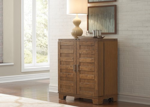 Liberty Furniture Pebble Creek Wine Cabinet with Satin Nickel Bar Pull Hardware