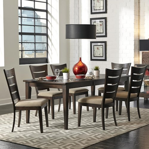 Liberty Furniture Pebble Creek 7 Piece Dining Set with Ladder Back Chairs