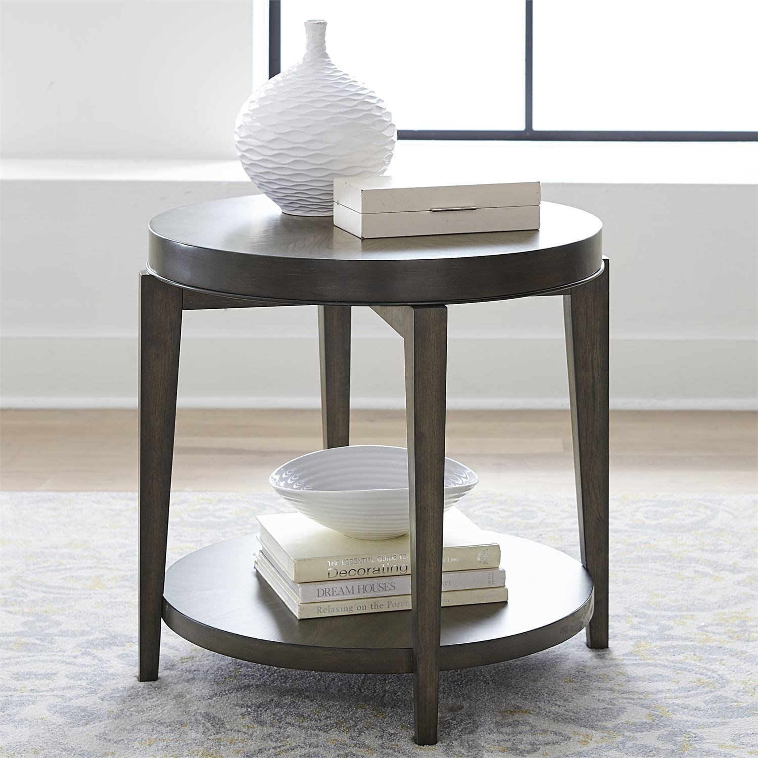 Contemporary Round End Table with Bottom Shelf