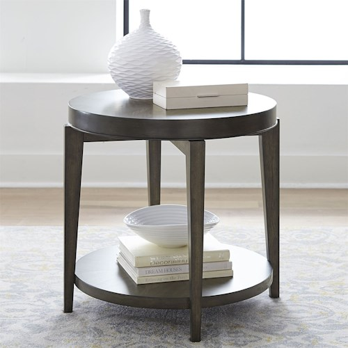 Liberty Furniture Penton Contemporary Round End Table with Bottom Shelf