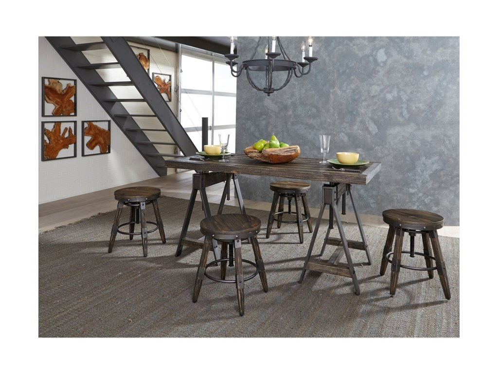 Vendor 5349 PinevilleAdjustable Height Table and Stool Set