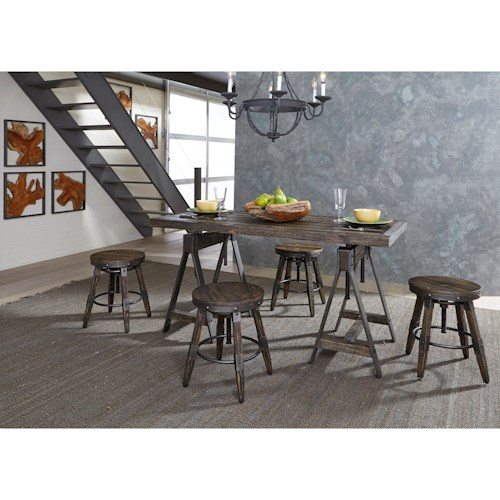 Liberty Furniture Pineville Industrial Adjustable Height Table and Stool Set