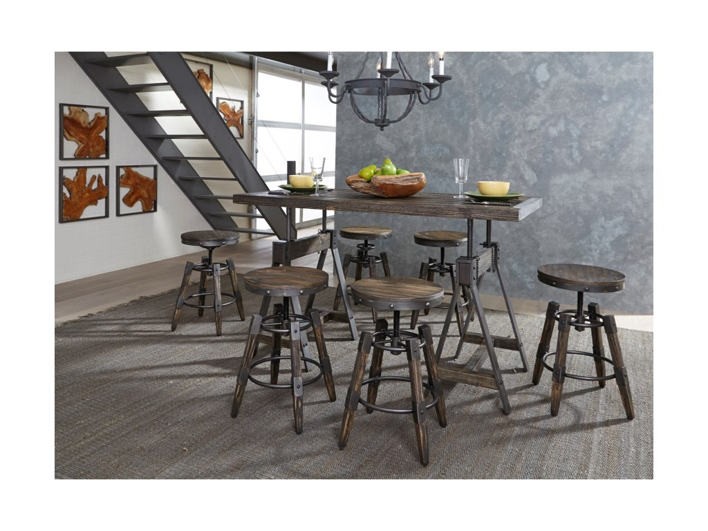 Liberty furniture pineville industrial adjustable height table and liberty furniture pineville industrial adjustable height table and stool set watchthetrailerfo
