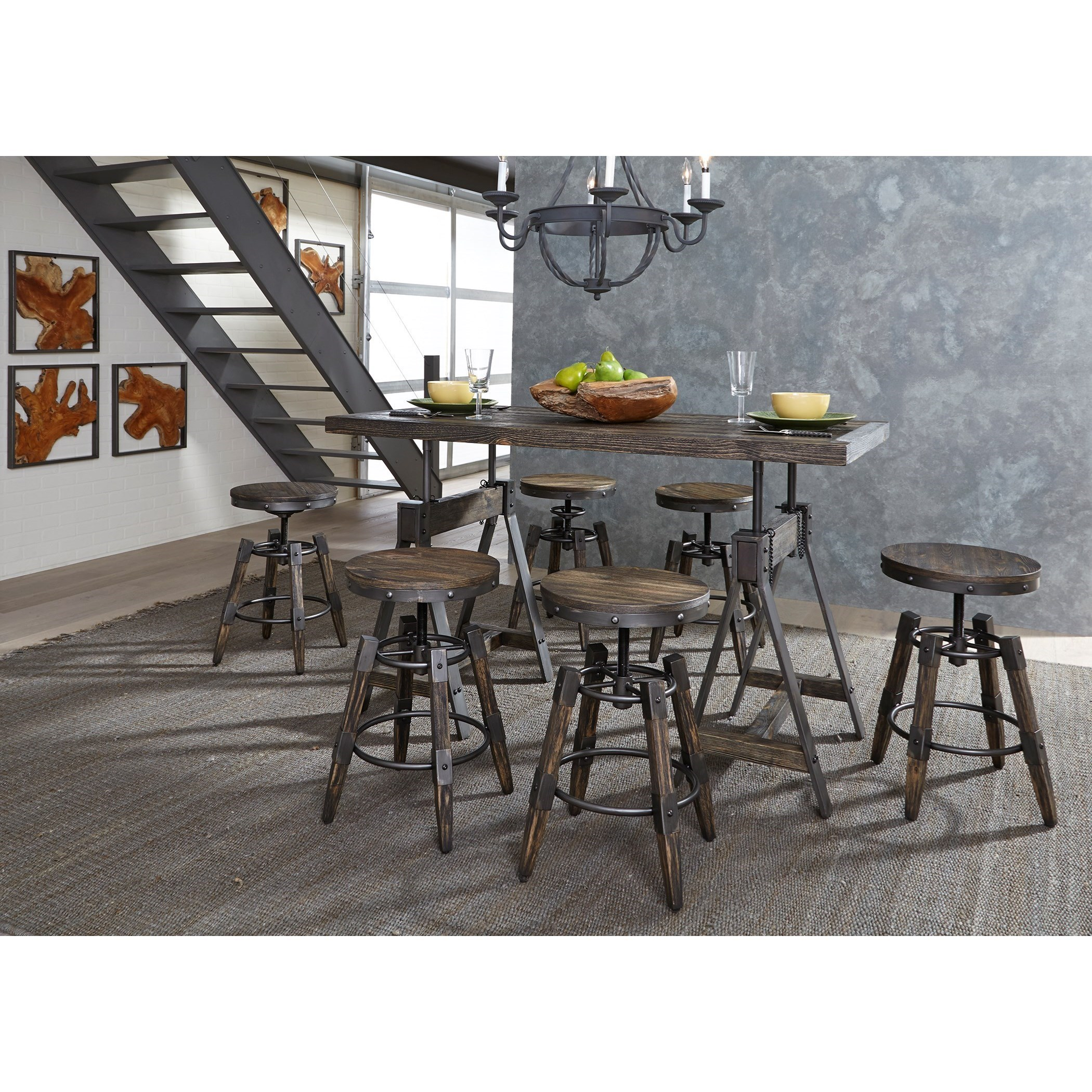 Merveilleux Liberty Furniture Pineville Industrial Adjustable Height Table And Stool Set