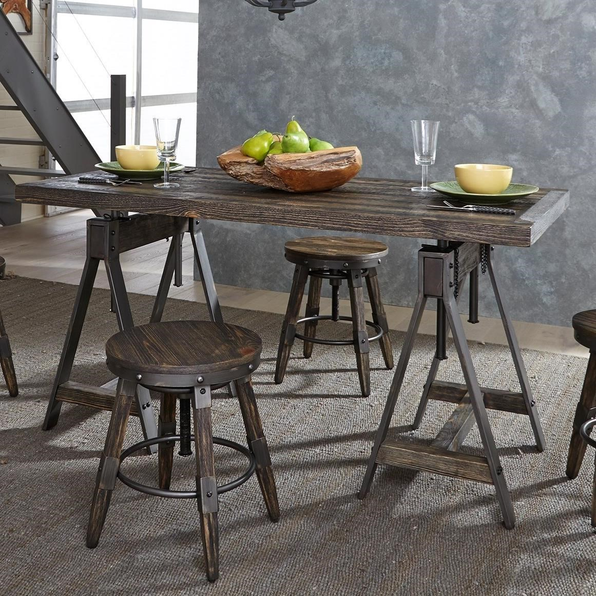 liberty furniture pineville 170 t3060 industrial adjustable height rectangular table with sawhorse pedestals   gill brothers furniture   kitchen tables liberty furniture pineville 170 t3060 industrial adjustable height      rh   gillbros com
