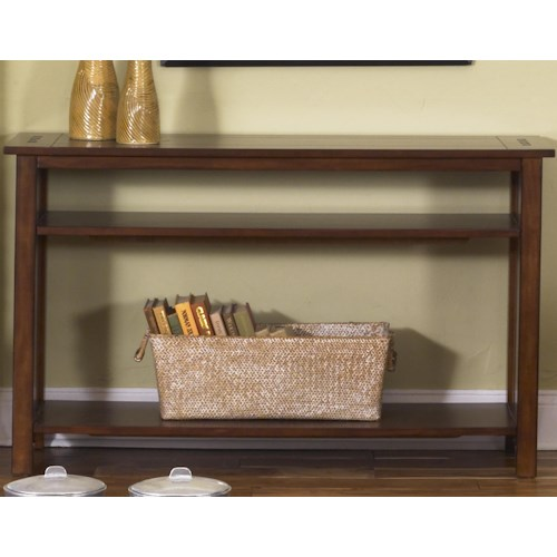Liberty Furniture Prairie Hills Rectangular Sofa Table with 2 Lower Shelves