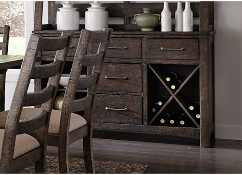 Liberty Furniture Prescott Valley Rustic Server with Removable Wine Rack