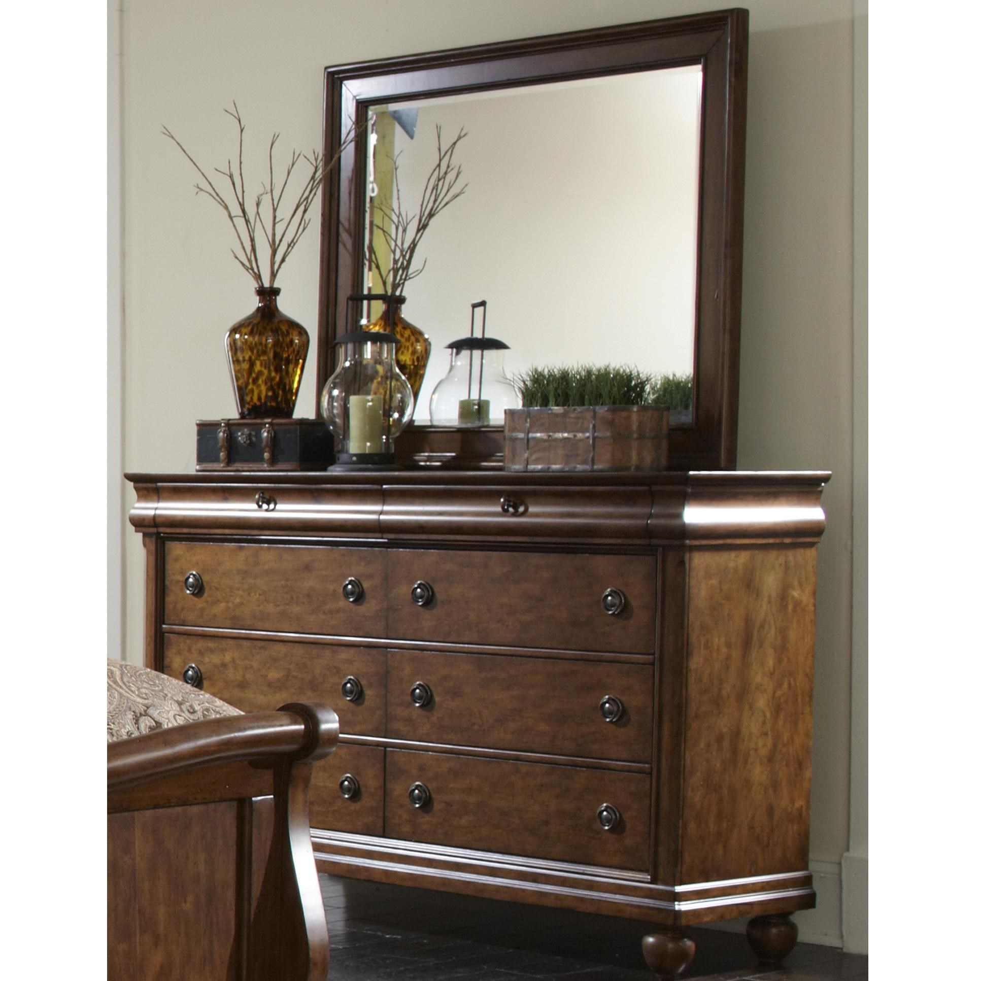 Eight-Drawer Dresser with Wood-Framed Landscape Mirror