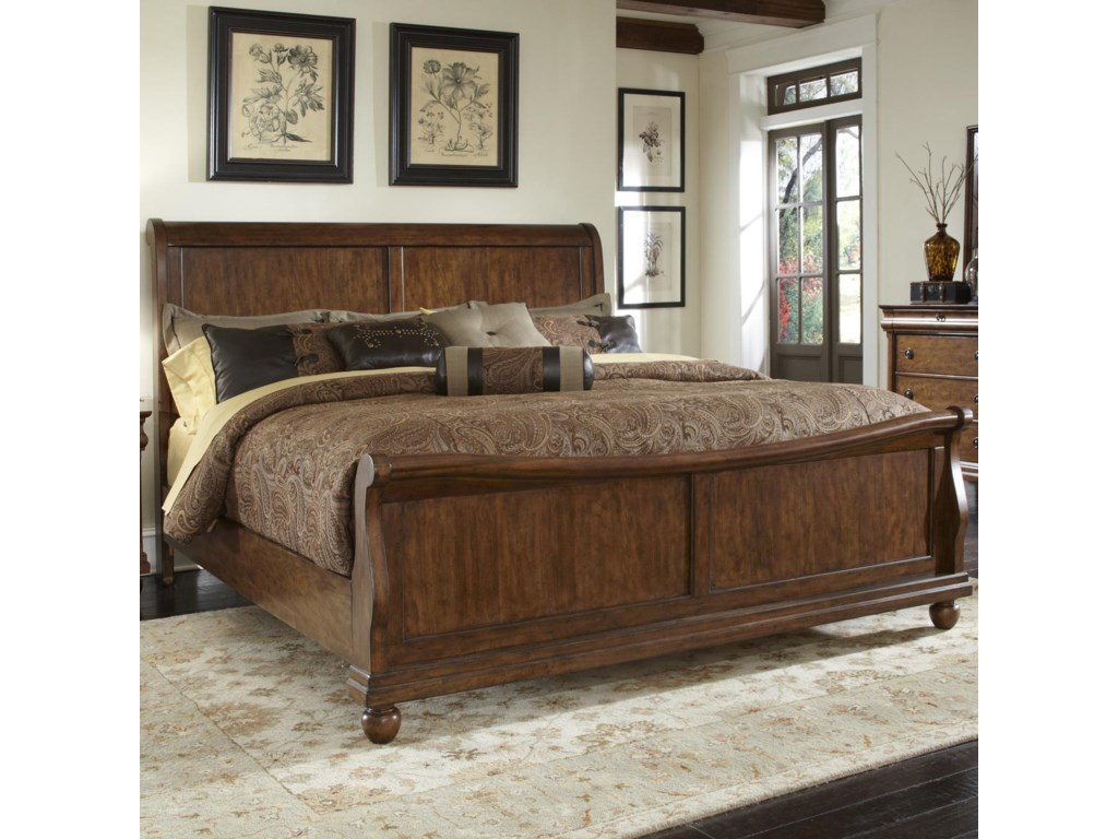 Brigham King Sleigh Bed Set With Bun Feet Rotmans Sleigh Beds