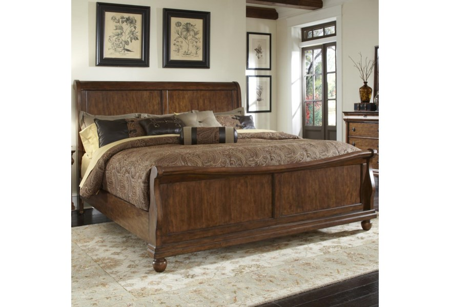 Liberty Furniture Rustic Traditions 589 Br Ksl King Sleigh Bed Set With Bun Feet Pilgrim Furniture City Sleigh Beds