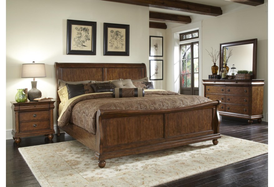 Liberty Furniture Rustic Traditions 589 Br Ksl King Sleigh Bed Set With Bun Feet Furniture Fair North Carolina Sleigh Beds