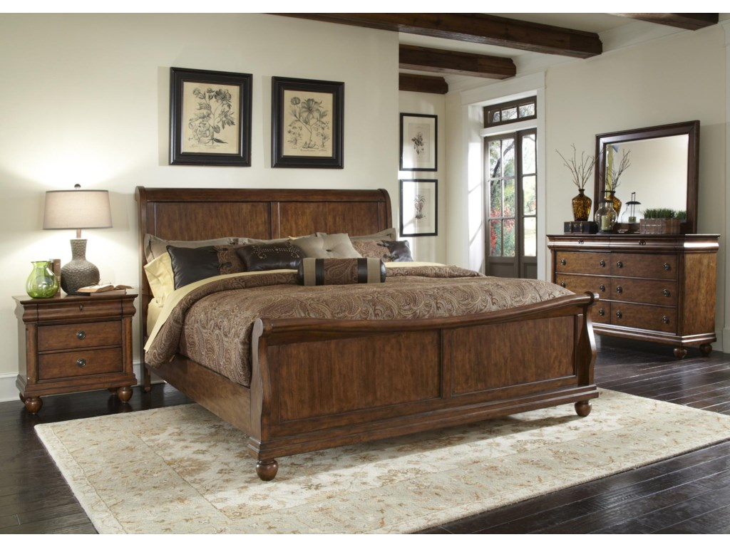Rustic Traditions Queen Sleigh Bed Set with Bun Feet by Vendor 5349 at  Becker Furniture World