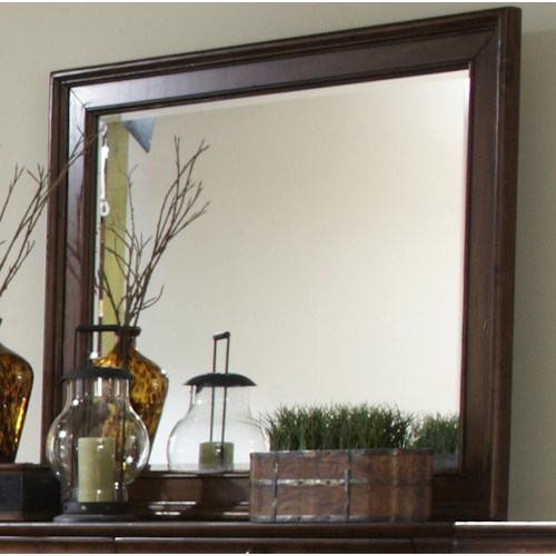 Liberty Furniture Rustic Traditions Beveled Landscape Mirror with Wood Frame