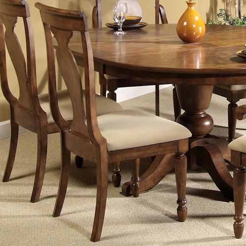Liberty Furniture Rustic Traditions Splat Back Side Chair with Upholstered Seat