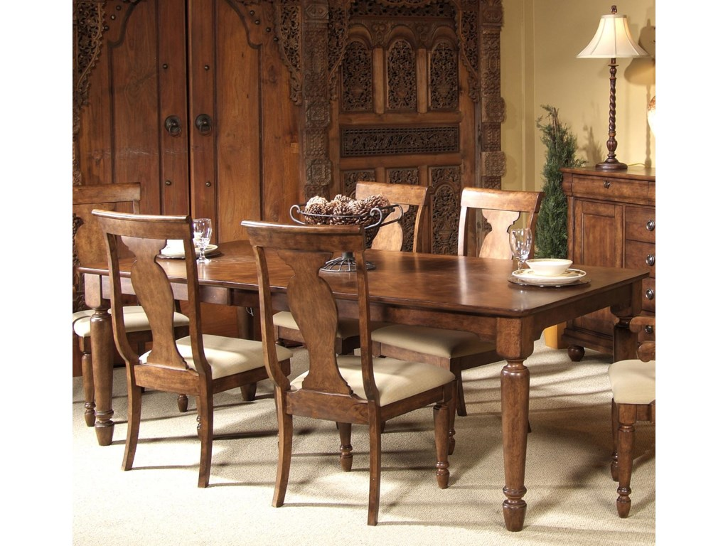 Rustic Traditions Rectangular Leg Dining Table With Leaf By Liberty Furniture
