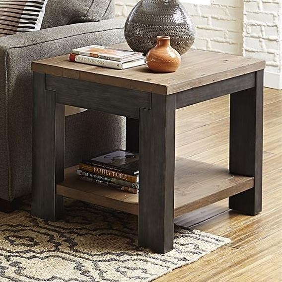 Rustic Two-Toned Rectangular End Table