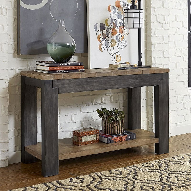 Rustic Two-Toned Sofa Table with Shelf