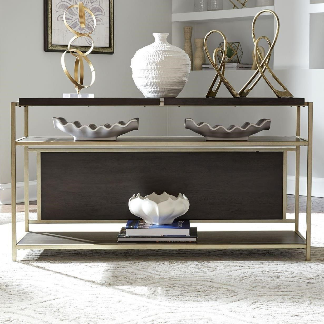 Contemporary Metal and Wood Sofa Table