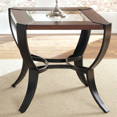 Liberty Furniture Skylights End Table with Intersecting Pewter Metal Base