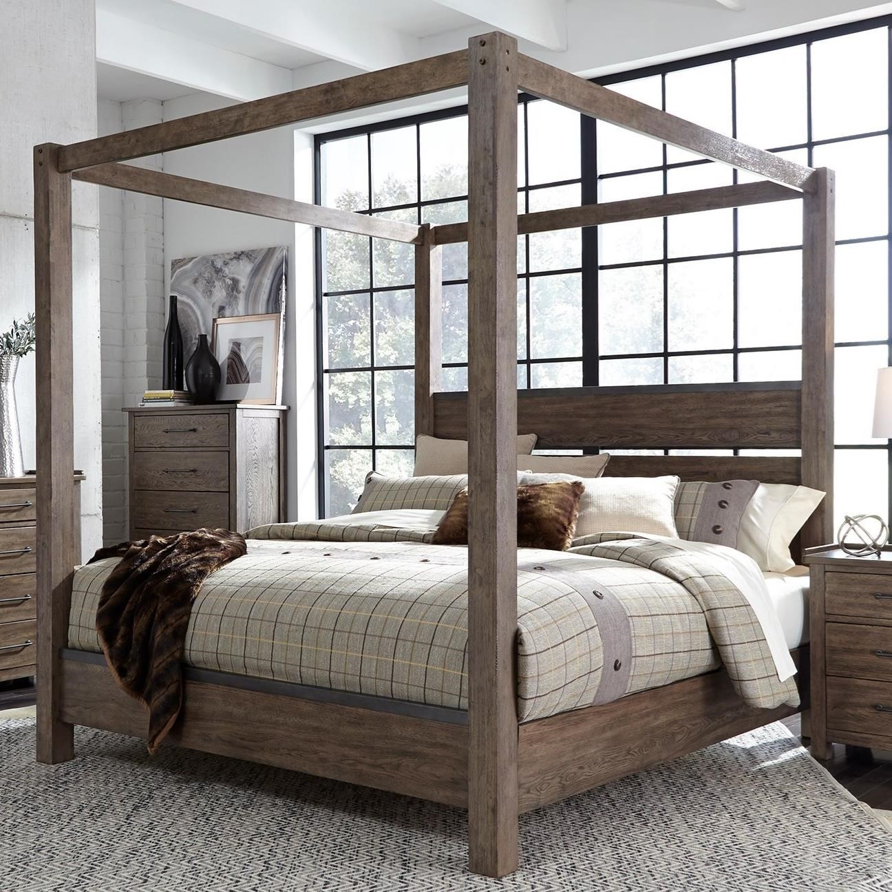 Liberty Furniture Sonoma Road Contemporary King Canopy Bed With Metal Strip Accents Royal Furniture Canopy Beds