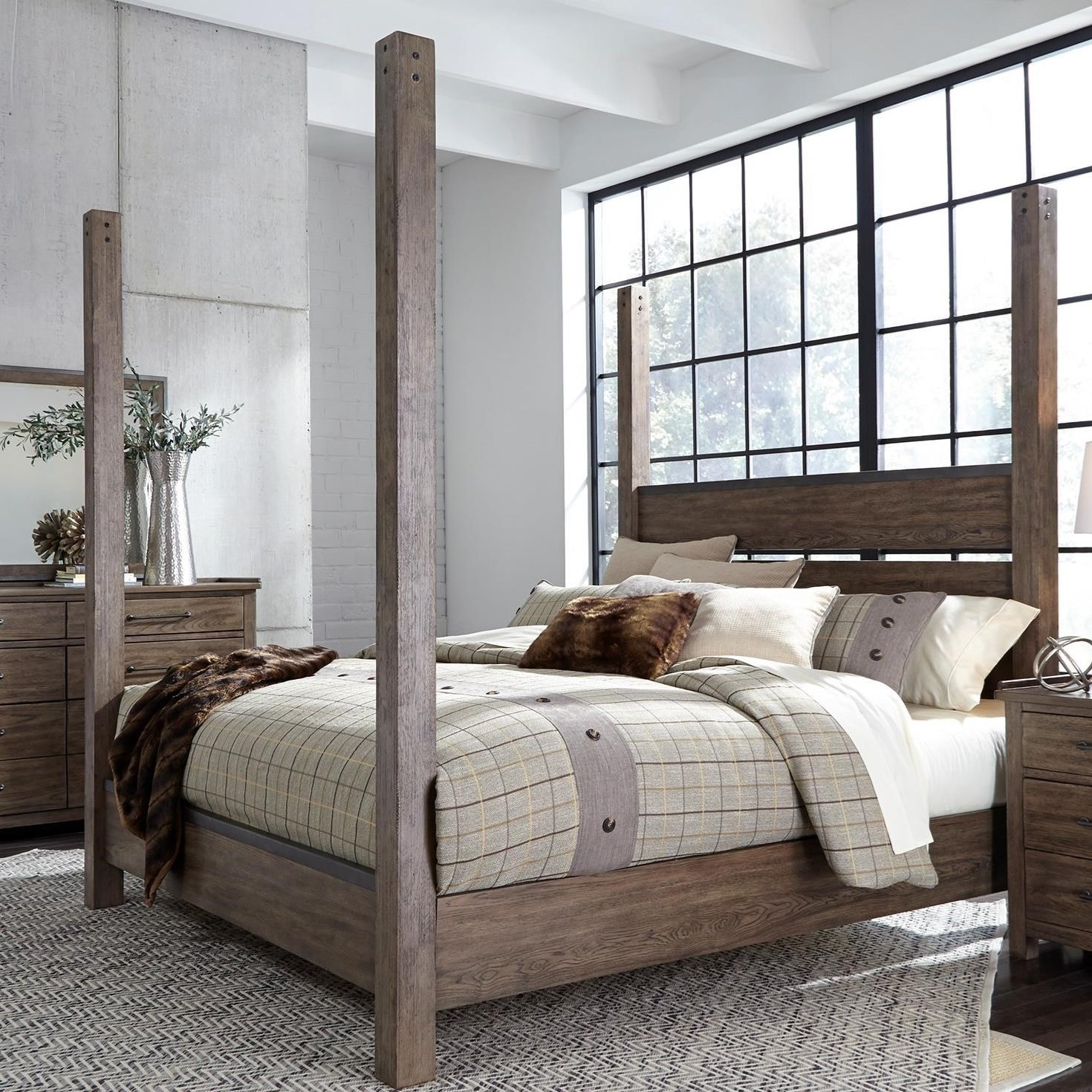 Liberty Furniture Sonoma Road Contemporary King Poster Bed With Metal Strip  Accents