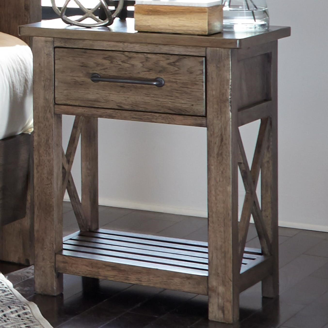 Liberty Furniture Sonoma Road Contemporary 1 Drawer Night Stand With Slat  Shelf   Darvin Furniture   Night Stands