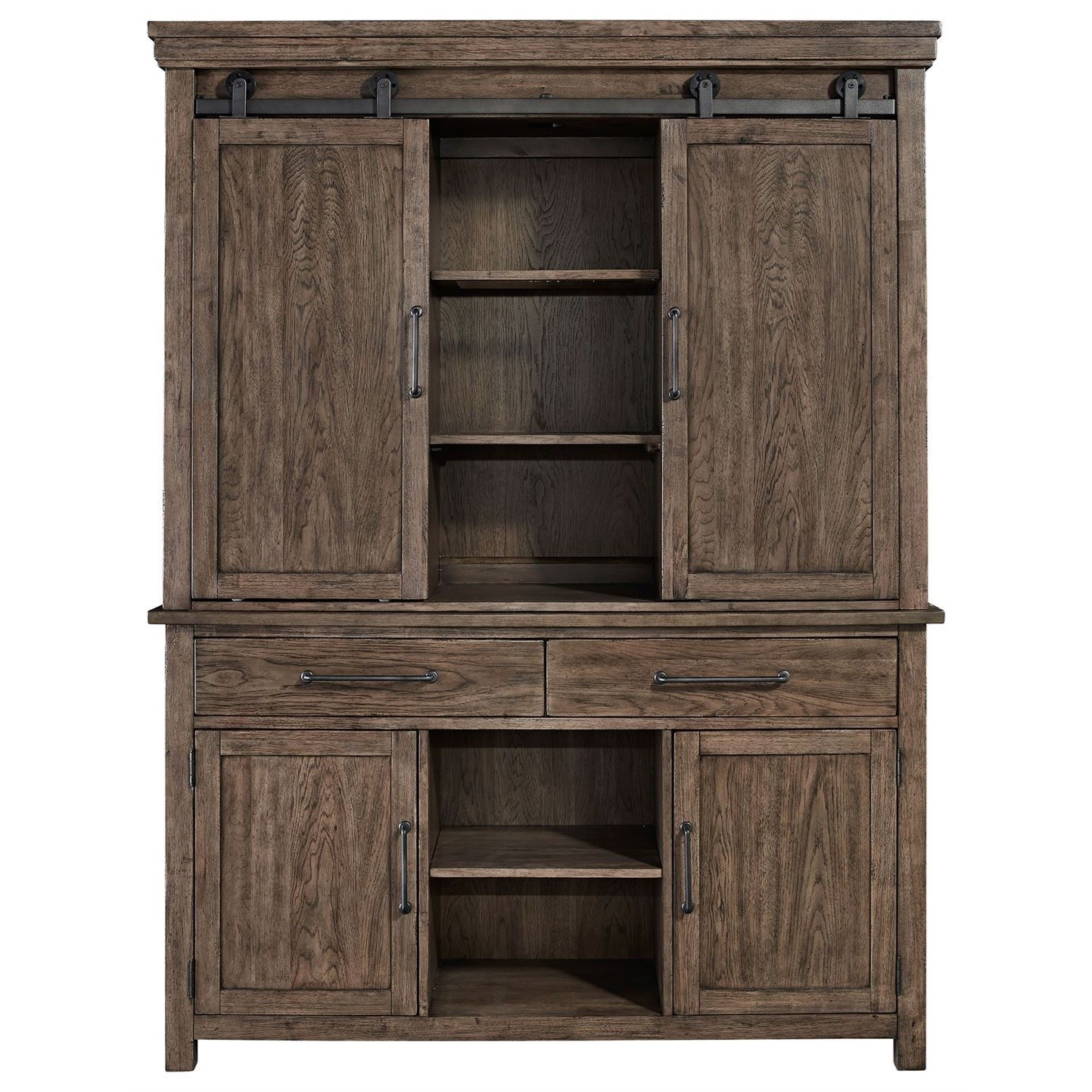 Contemporary Hutch & Buffet with LED Touch Lighting