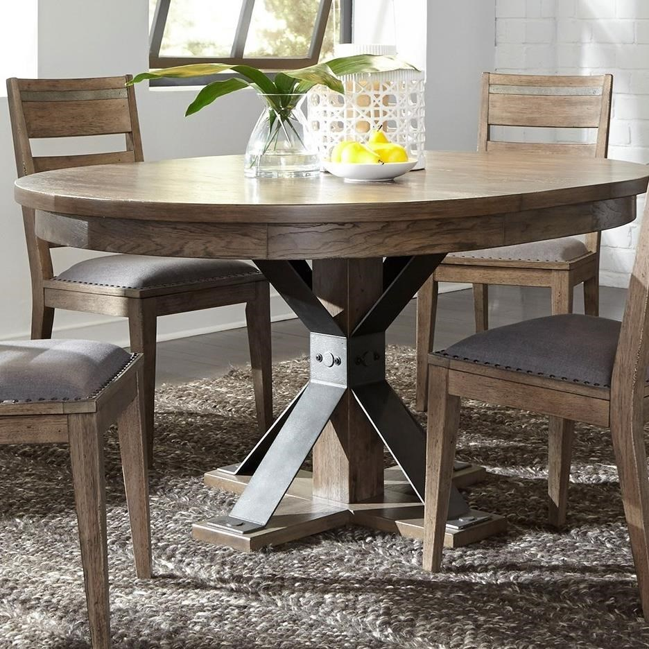 Liberty Furniture Sonoma Road Contempoary Oval Pedestal Table With Metal  Strip Accents