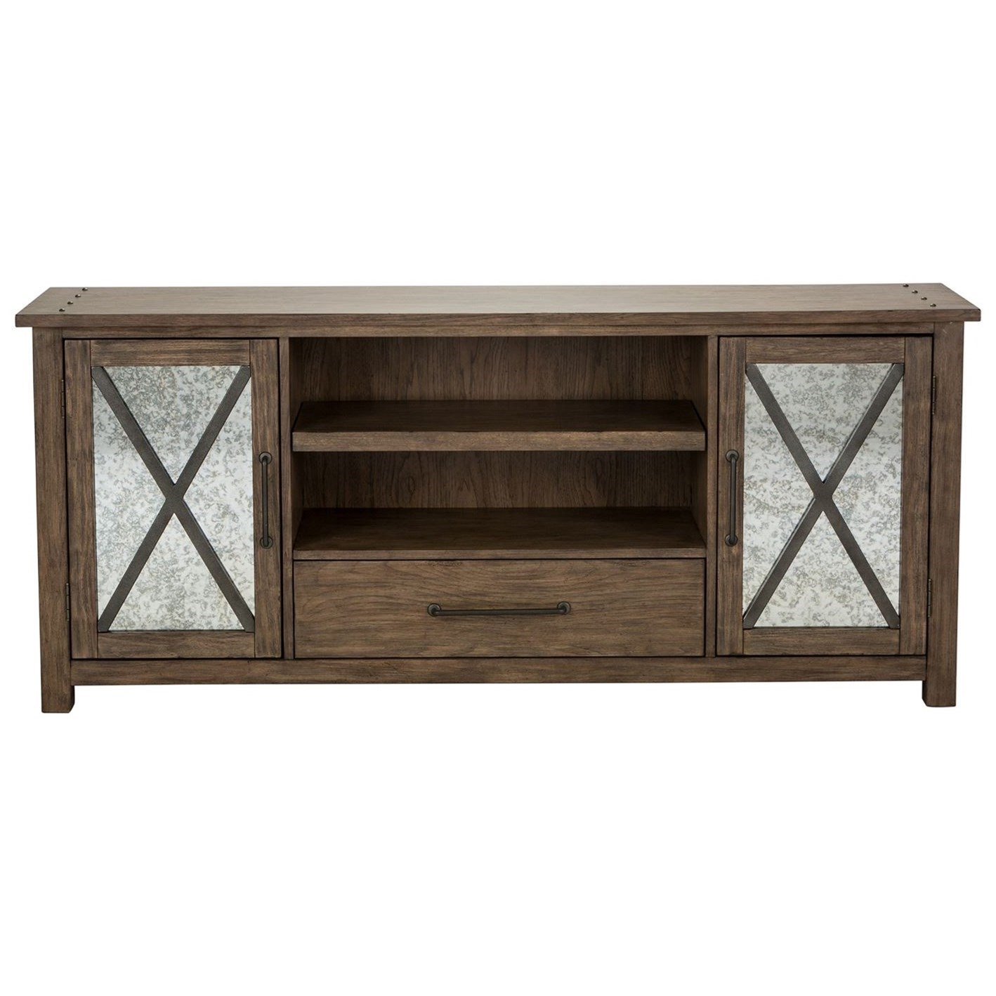Sonoma Road Contemporary TV Stand With Mirrored Doors By Liberty Furniture