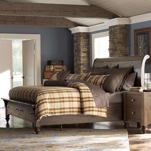 Liberty Furniture Southern Pines King Size Sleigh Bed with Storage made of Solid Pine