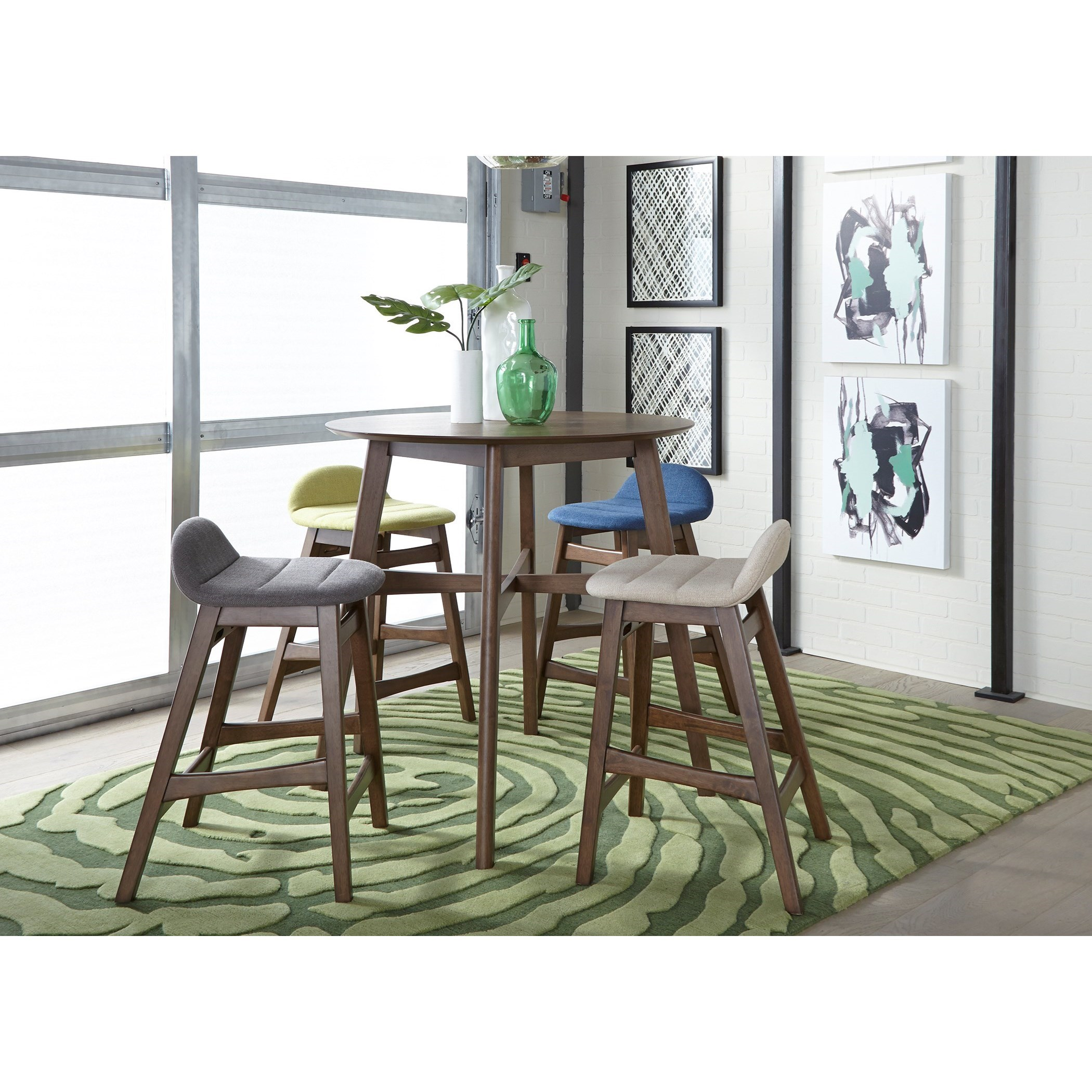 Liberty Furniture Space Savers Mid Century Modern 5 Piece Gathering Table  Set With Upholstered
