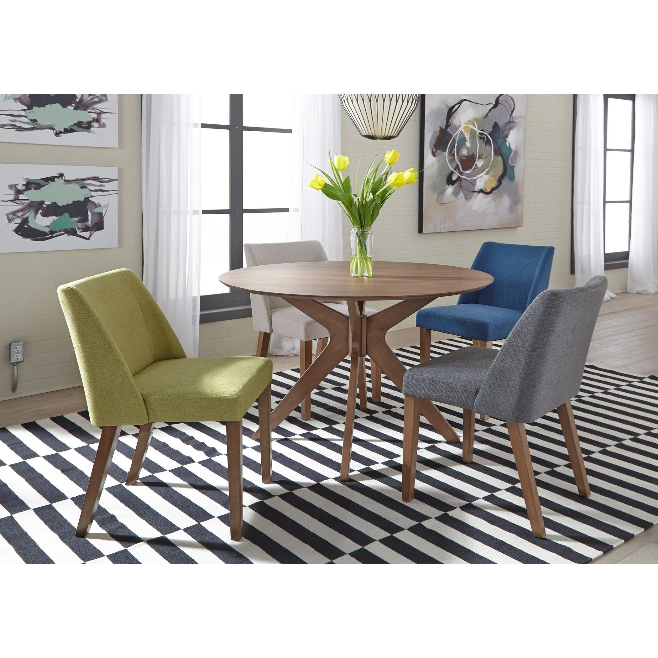 Liberty Furniture Space Savers Mid Century Modern 5 Piece Pedestal Table Set  With Fully Upholstered Seating