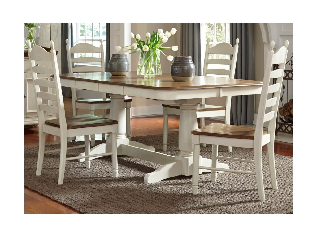 Liberty Furniture Springfield Dining5 Piece Double Pedestal Table & Chair Set