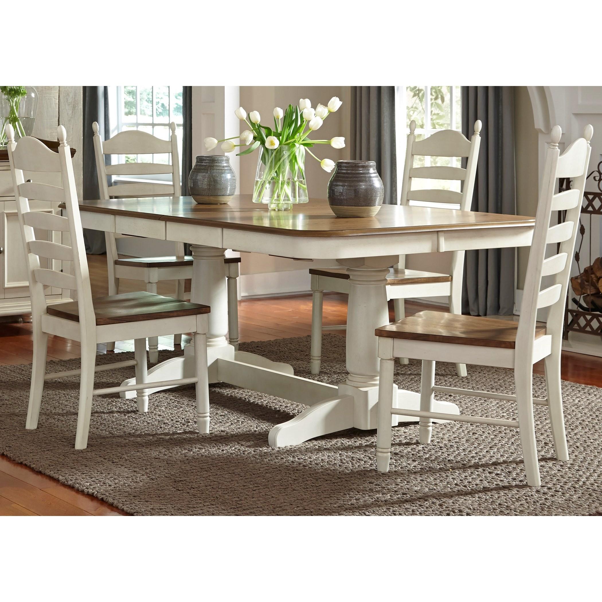 Merveilleux Liberty Furniture Springfield Dining 5 Piece Double Pedestal Table U0026 Chair  Set