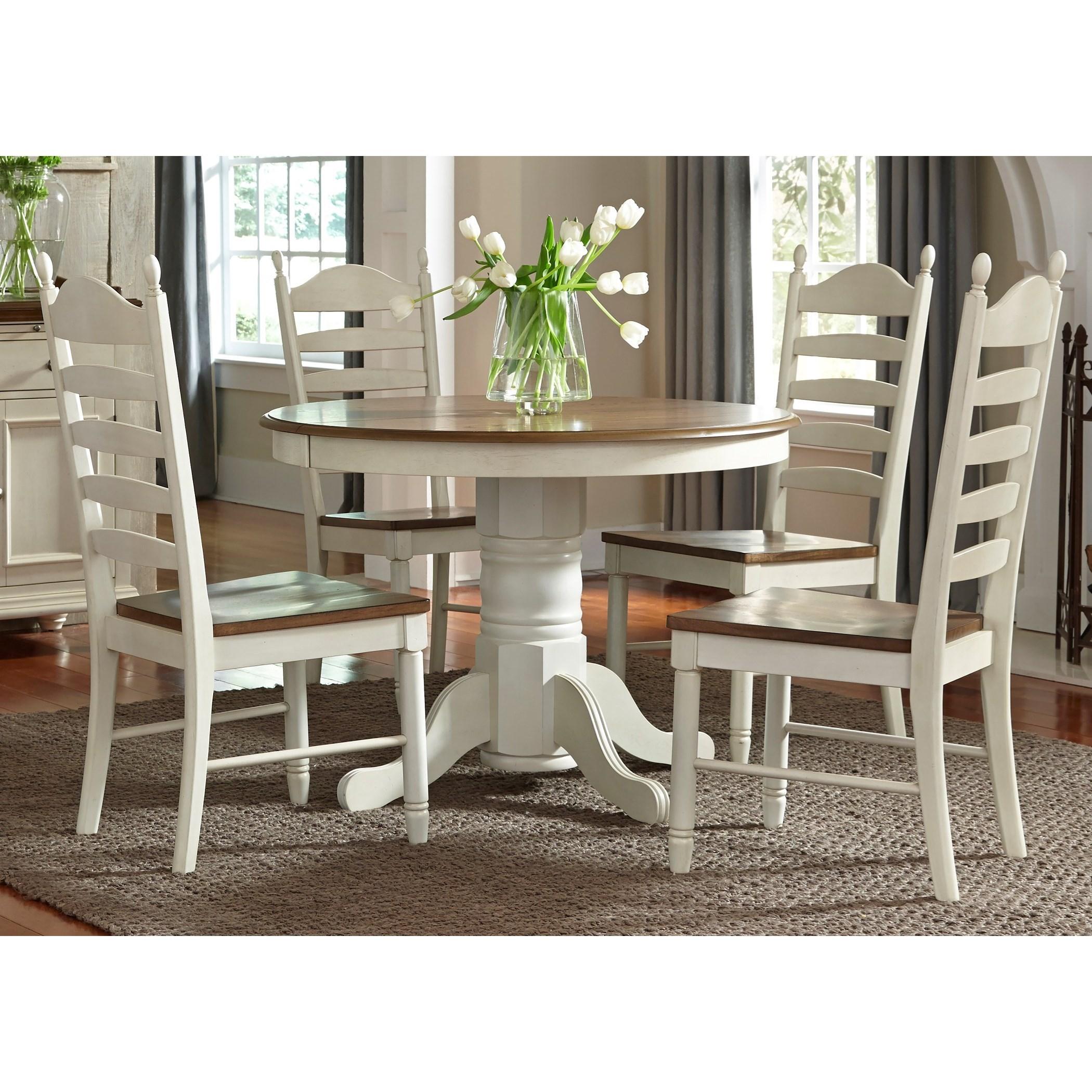 5 Piece Pedestal Table & Chair Set