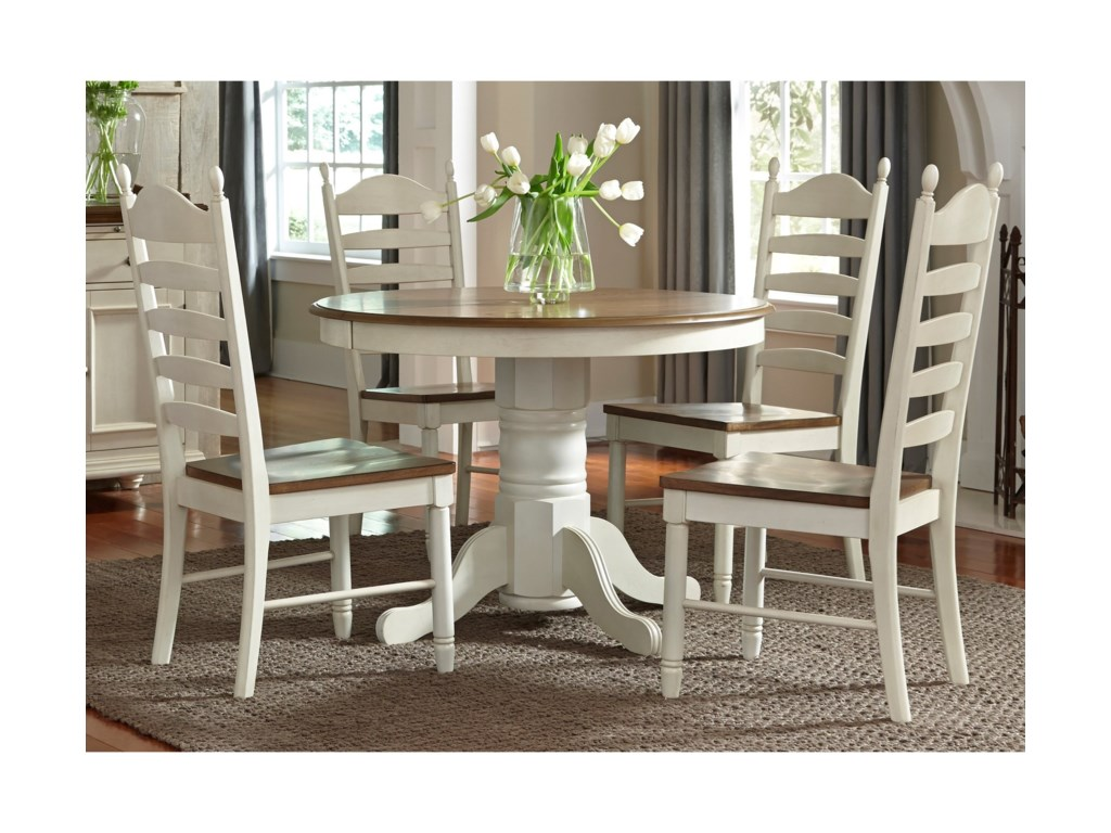 Liberty Furniture Springfield Dining 5 Piece Pedestal Table Chair Set