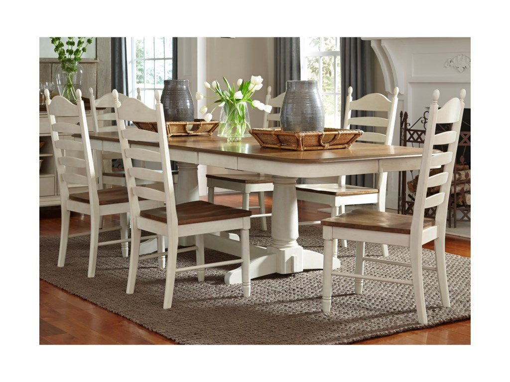 Liberty Furniture Springfield Dining7 Piece Double Pedestal Table & Chair Set