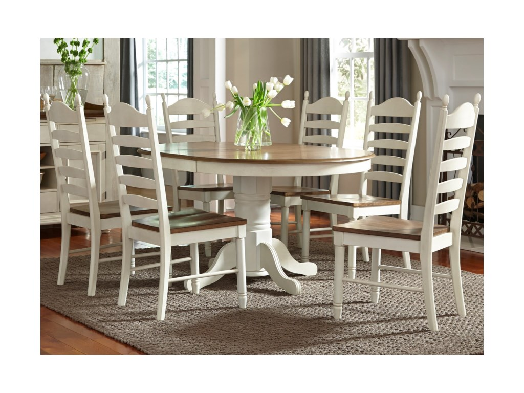 Liberty Furniture Springfield Dining7 Piece Pedestal Table & Chair Set