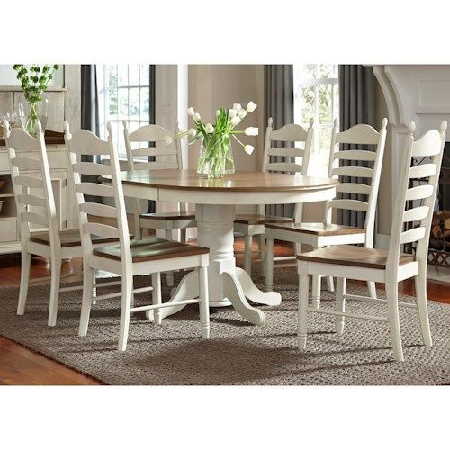 Liberty Furniture Springfield Dining 7 Piece Pedestal Table & Chair Set
