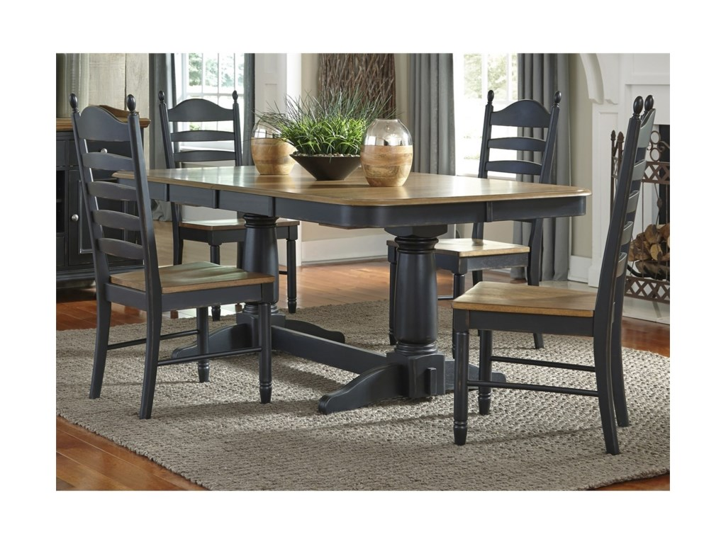 Liberty Furniture 5 Piece Double Pedestal Table & Chair Set