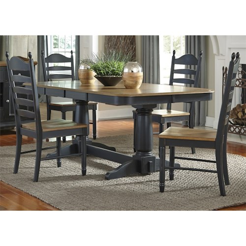 Liberty Furniture Springfield II Dining 5 Piece Double Pedestal Table & Chair Set