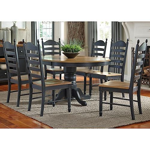 liberty furniture springfield ii dining 7 piece pedestal table chair set. Interior Design Ideas. Home Design Ideas