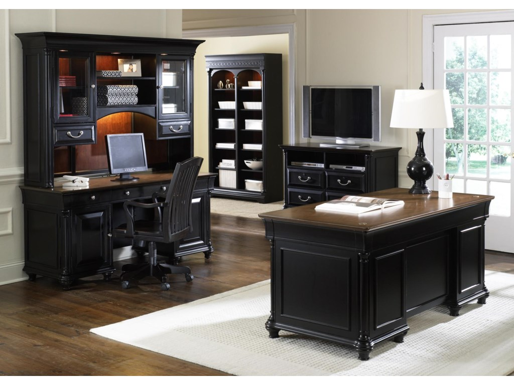 Shown with Jr. Executive Credenza Desk and Hutch, Double Pedestal Desk, Desk Chair, & Bookcase