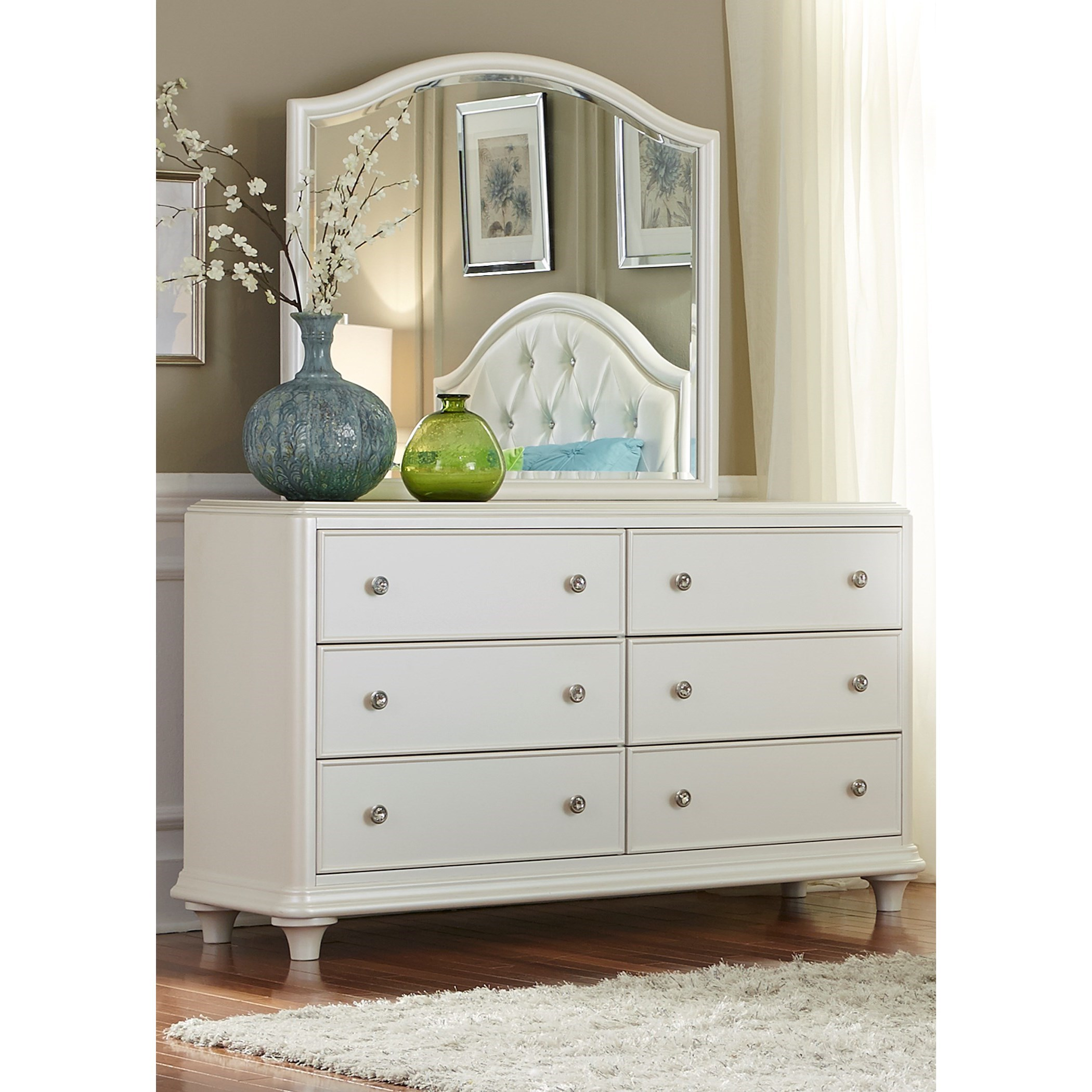 Contemporary Glam 6 Drawer Dresser and Mirror