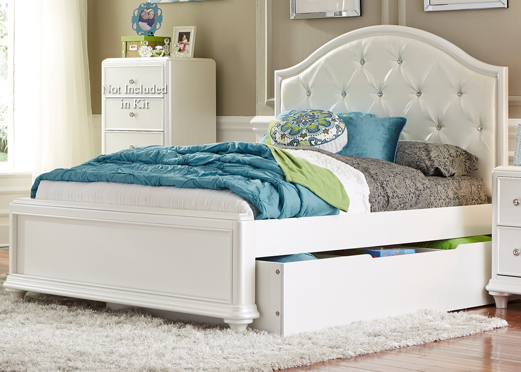 Twin Trundle Bed with Tufted Headboard