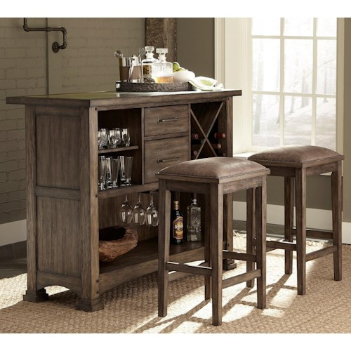 Liberty Furniture Stone Brook 3 Piece Bar and Stool Set