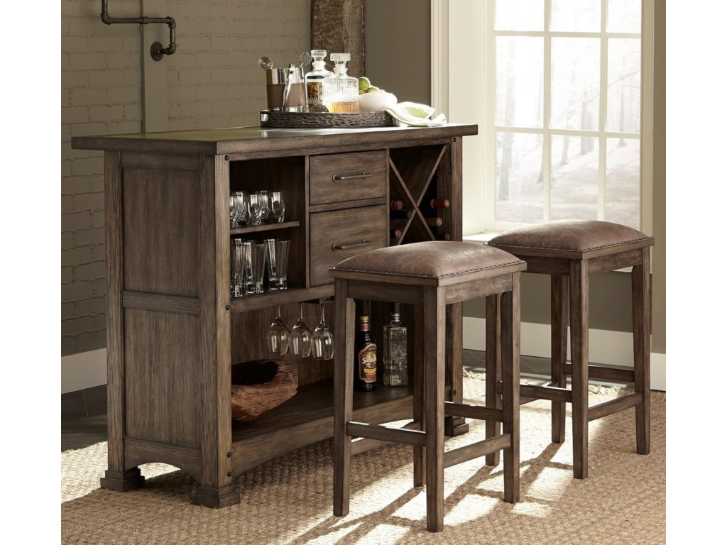 Liberty Furniture Stone Brook3 Piece Bar and Stool Set